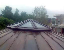 Остекление купола на крыше коттеджа